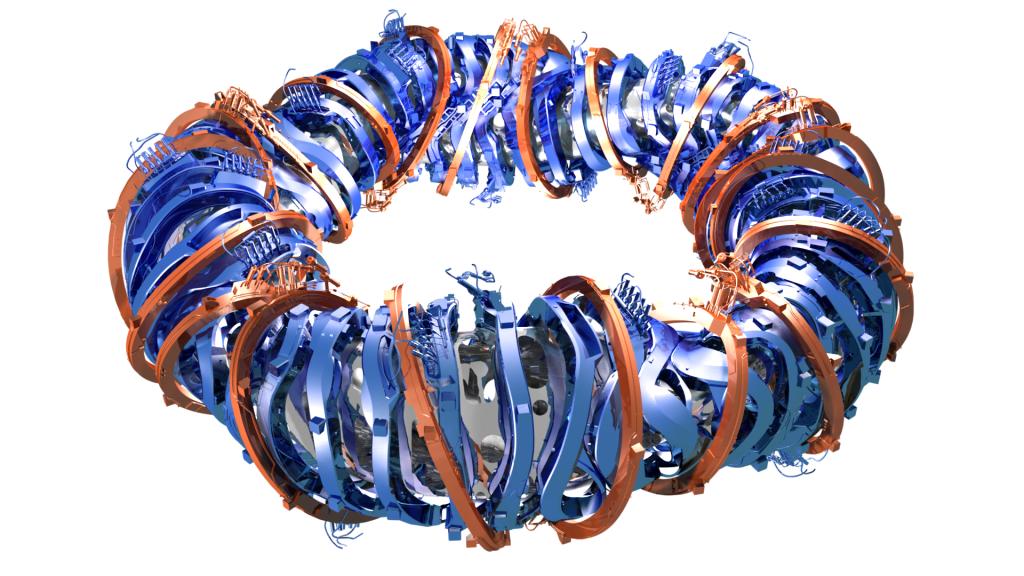 A Wendelstein 7-X  szuprevezető mágneses tekercs rendszere Grafika: IPP